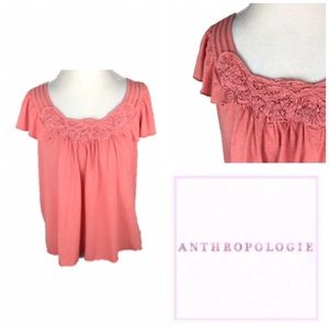 Anthropologie Linen Flutter Sleeve Embroidered Top